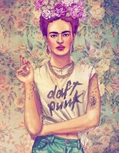 Frida w koszulce Daft Punków. Stwierdzam, że awesome.